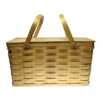 "38112 wood picnic basket with handels and hinged lid 20"" x 10H x"