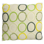 tan pillow with green and yellow beaded circles 11 x 12""