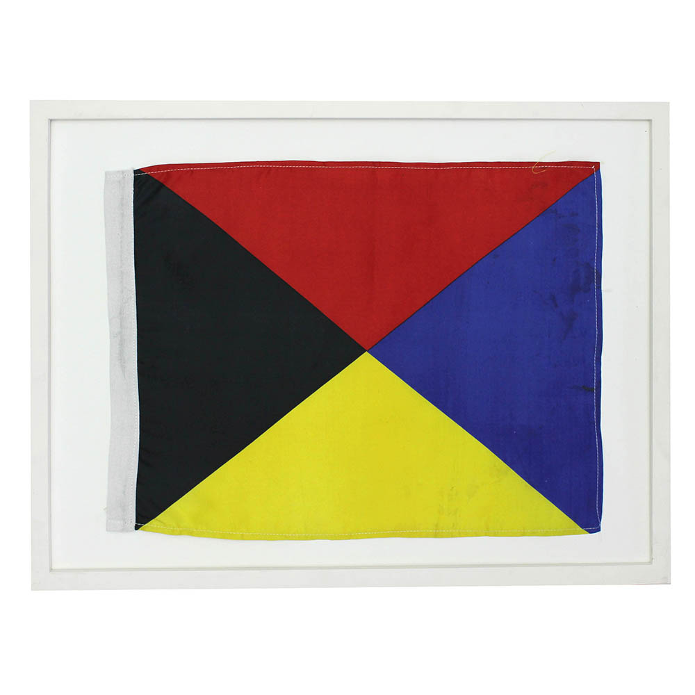 Red, black, yellow & blue triangle flag