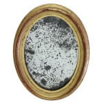 "gold oval framed rusted mirror 8.5"" x 6.75"""