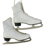 Pair of White ice skates in box Size 8