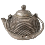 "49617 Asian silver beaded metal teapot 4""D x 4""H"