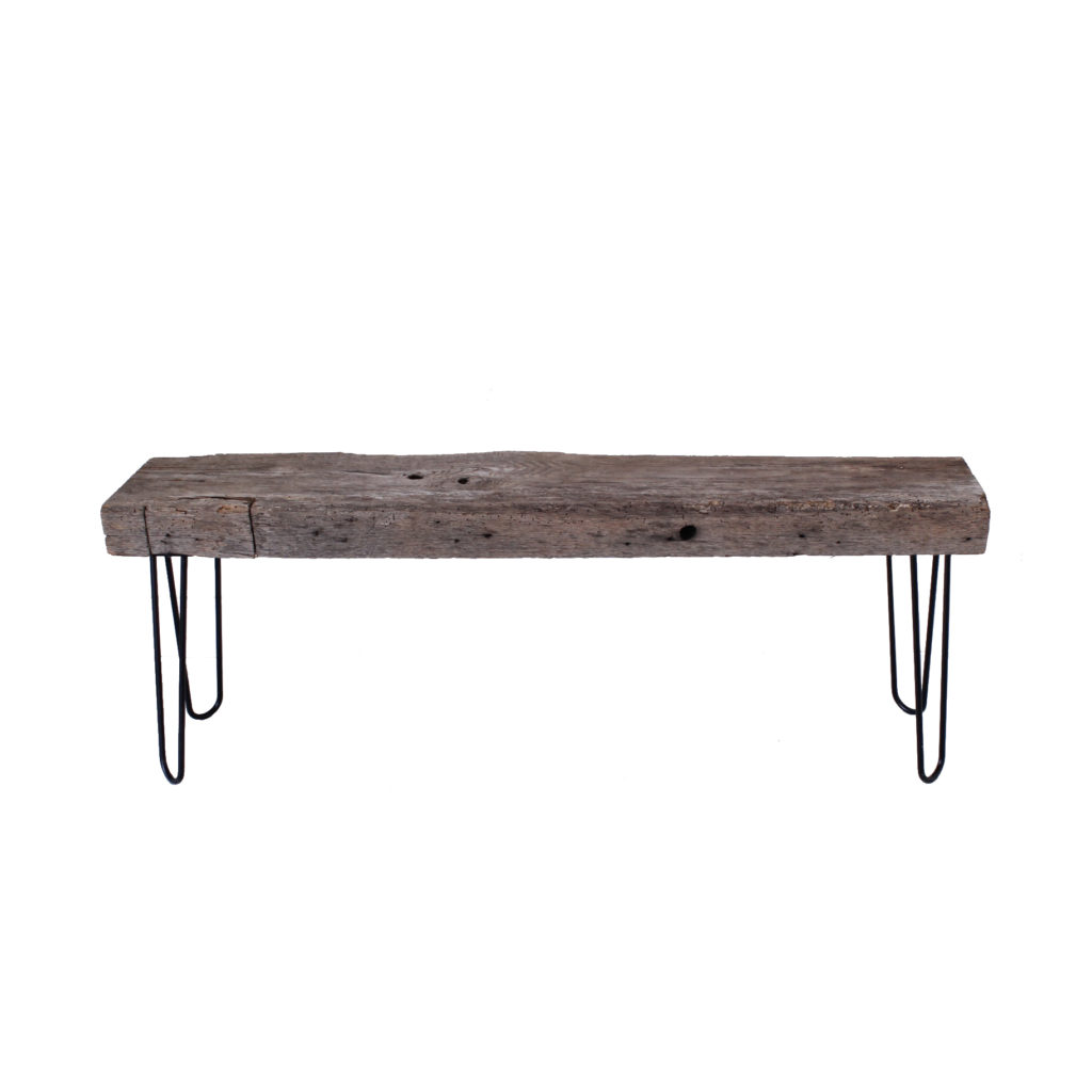 Long Rustic Bench W Metal Legs